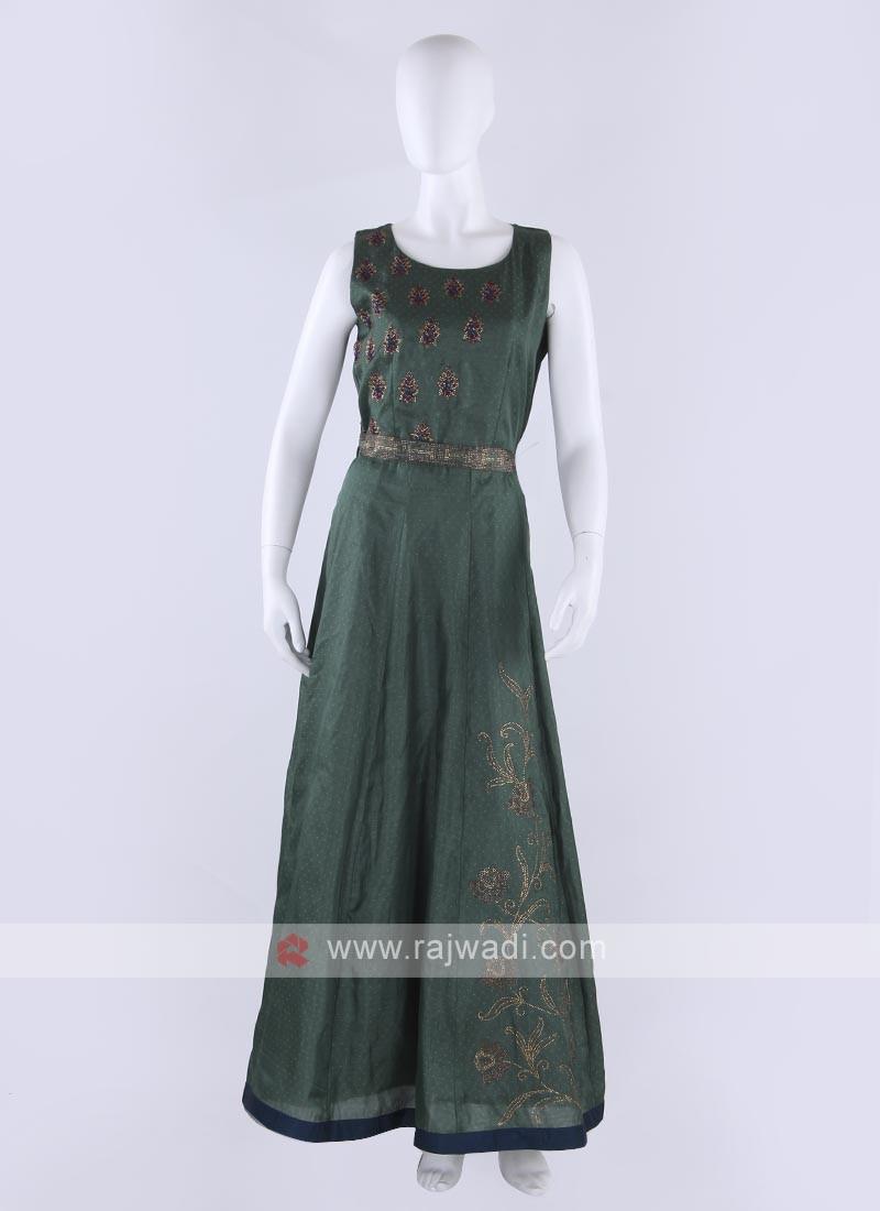 silk maxi dress in bottle green color