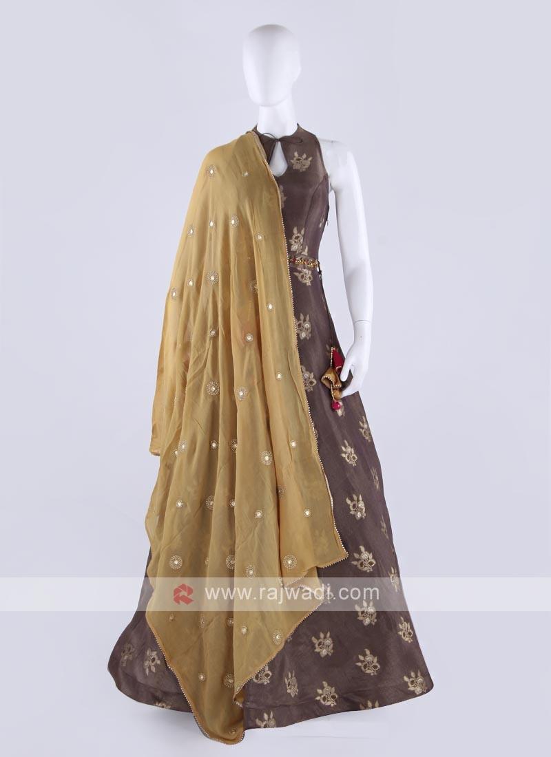 silk maxi dress in brown color