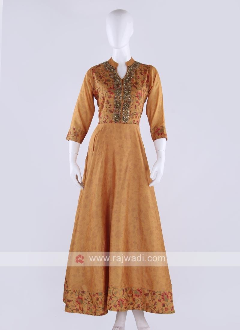 silk maxi dress in mustard yellow