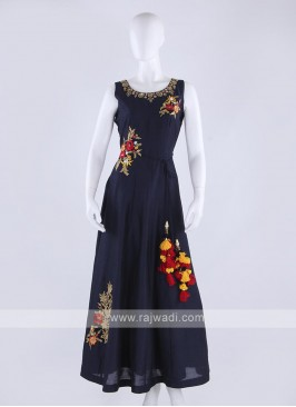 silk maxi dress in navy blue color