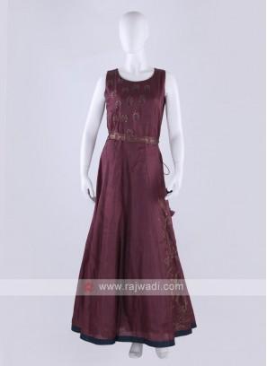 silk maxi dress in wine color