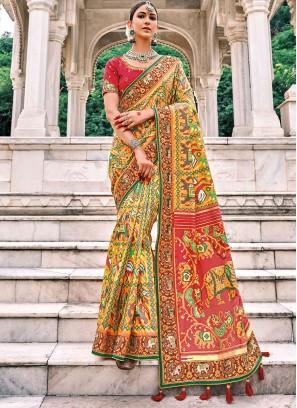 Silk Multi Colour Patch Border Classic Saree