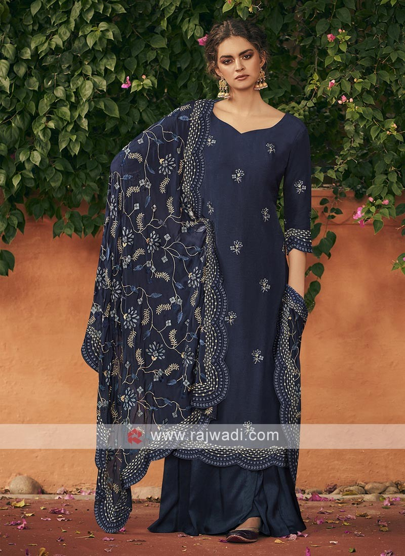 Silk dress material in navy blue color