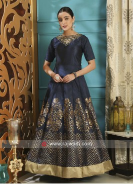 Semi Stitched Silk Navy Blue Designer Gown