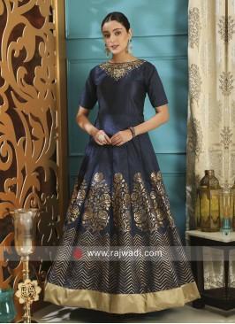 Semi Stitched Silk Navy Blue Designer Gown