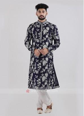Silk Navy Blue Kurta Pajama