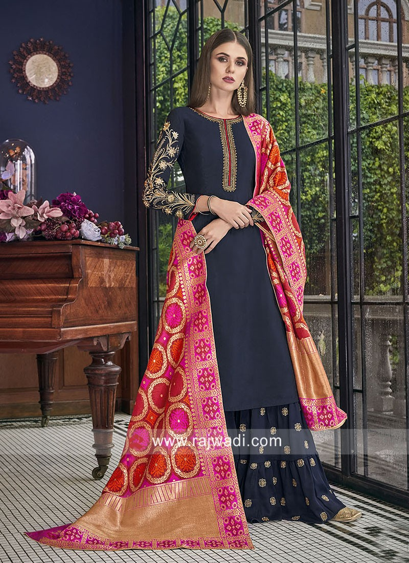 Silk Navy Blue Palazzo Suit with Contrast Dupatta