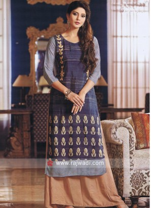 Silk Navy Blue Printed Long Kurti