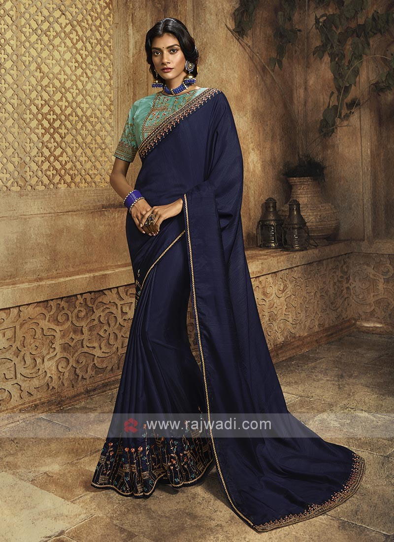 Silk Navy Blue Saree