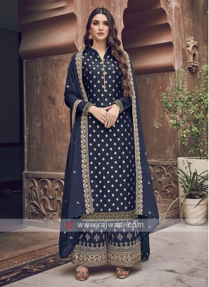 Silk Navy Color Dress Material