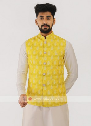Silk Nehru Jacket In Lemon Yellow