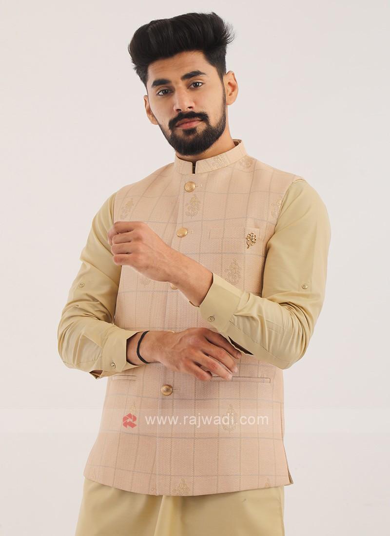 Silk Nehru Jacket In Peach