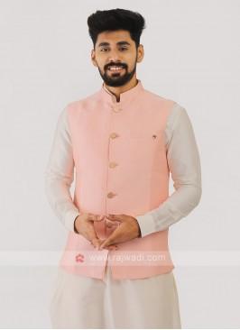 Silk Nehru Jacket In Peach Color