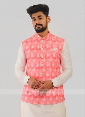 Silk Nehru Jacket In Pink