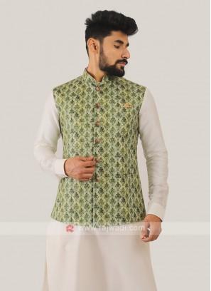 Silk Nehru Jacket In Pista Green