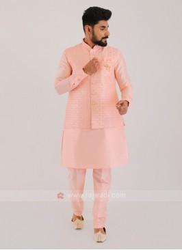 Silk Nehru Jacket Suit For Men