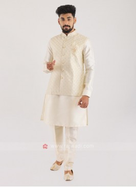 Silk Nehru Jacket Suit For Men