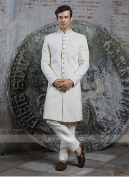 Silk Off White Groom Sherwani