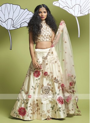 Silk Off White Lehenga Choli