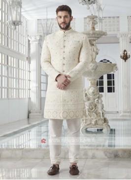 Silk Off White Sherwani