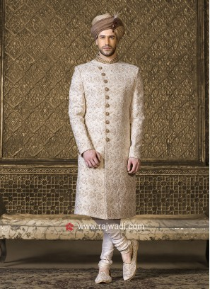 Silk Off White Sherwani For Wedding