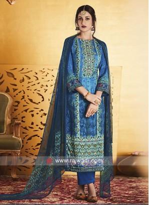 Silk Pakistani Salwar Kameez in Blue