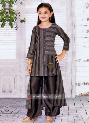 Silk Palazzo Set for Girls in Grey
