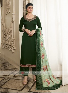 Silk Palazzo Suit In Bottle Green