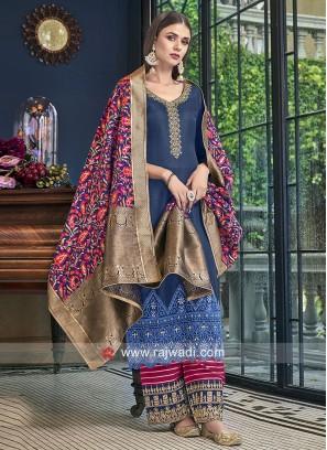 Silk Palazzo Suit with Banarasi Silk Dupatta