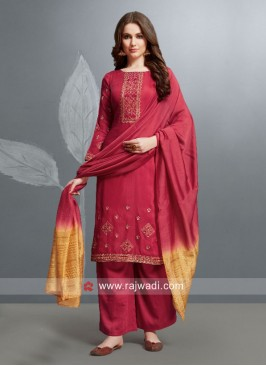Silk Party Wear Palazzo Suit with Dupatta