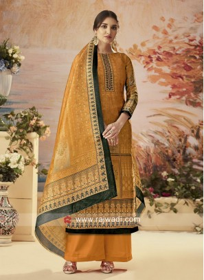 Silk Party Wear Printed Palazzo Suit