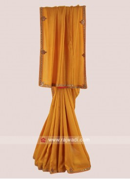 Silk Party Wear Saree in Mustard Yellow