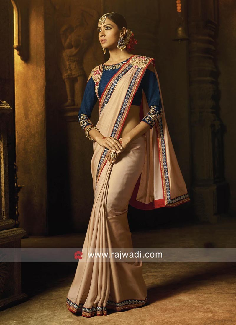 Silk Party Wear Saree with Stitched Pallu