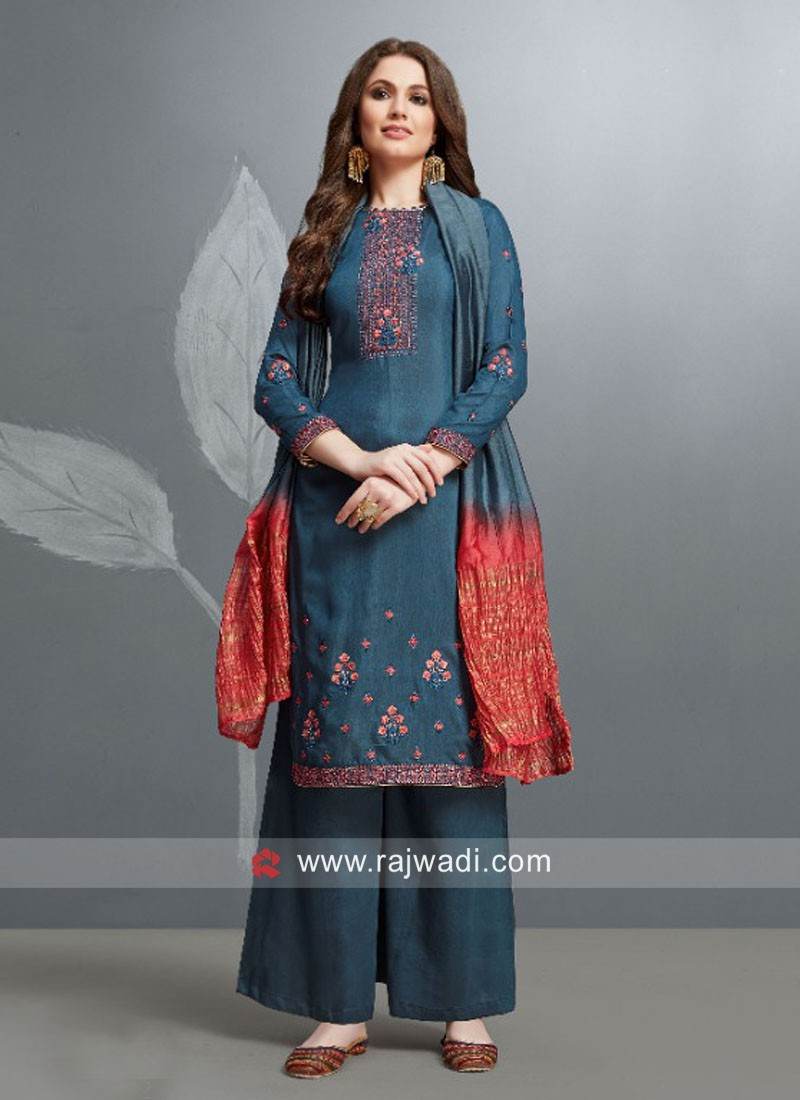 Silk Party Wear Suit with Shaded Dupatta