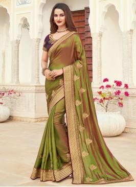 Silk Patch Border Green Designer Saree