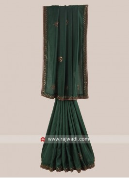Silk Patch Work Saree in Green