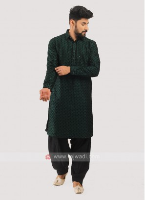 Silk Pathani Suit In Green