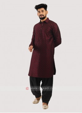 Silk Pathani Suit In Maroon