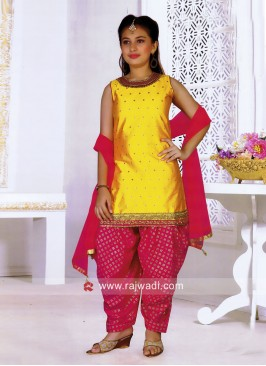 Silk Patiala Suit for Kids