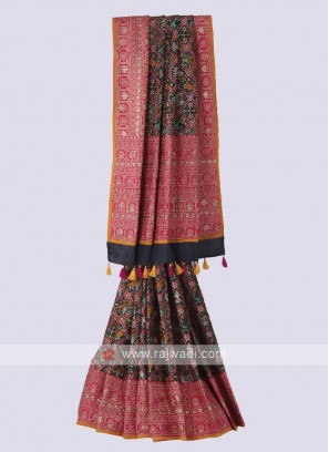 Silk patola printed saree in dark grey color