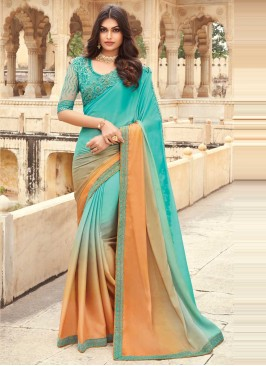 Silk Peach and Sea Green Embroidered Shaded Saree