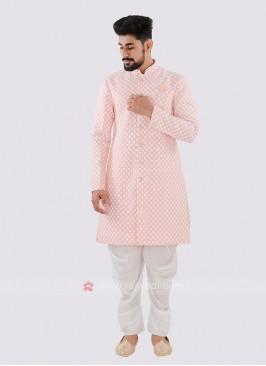 Silk Peach And White Indo Western