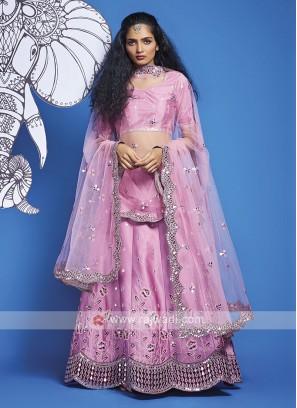 Silk Pink Lehenga Choli