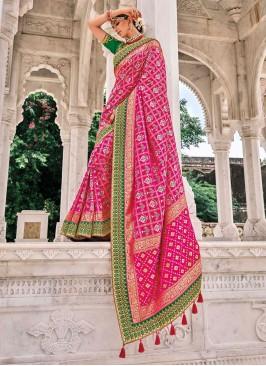 Silk Pink Resham Designer Saree