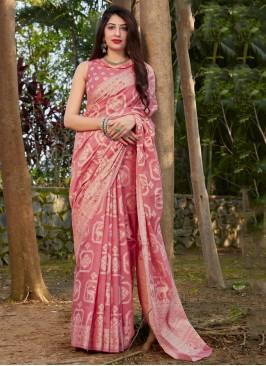 Silk Pink Traditional Saree