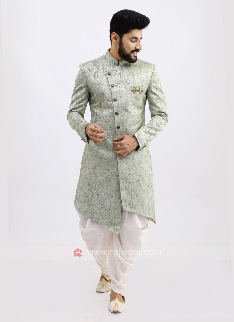 Silk Pista Green Color Indo Western