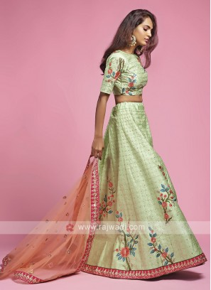 Silk Pista Green Lehenga Choli