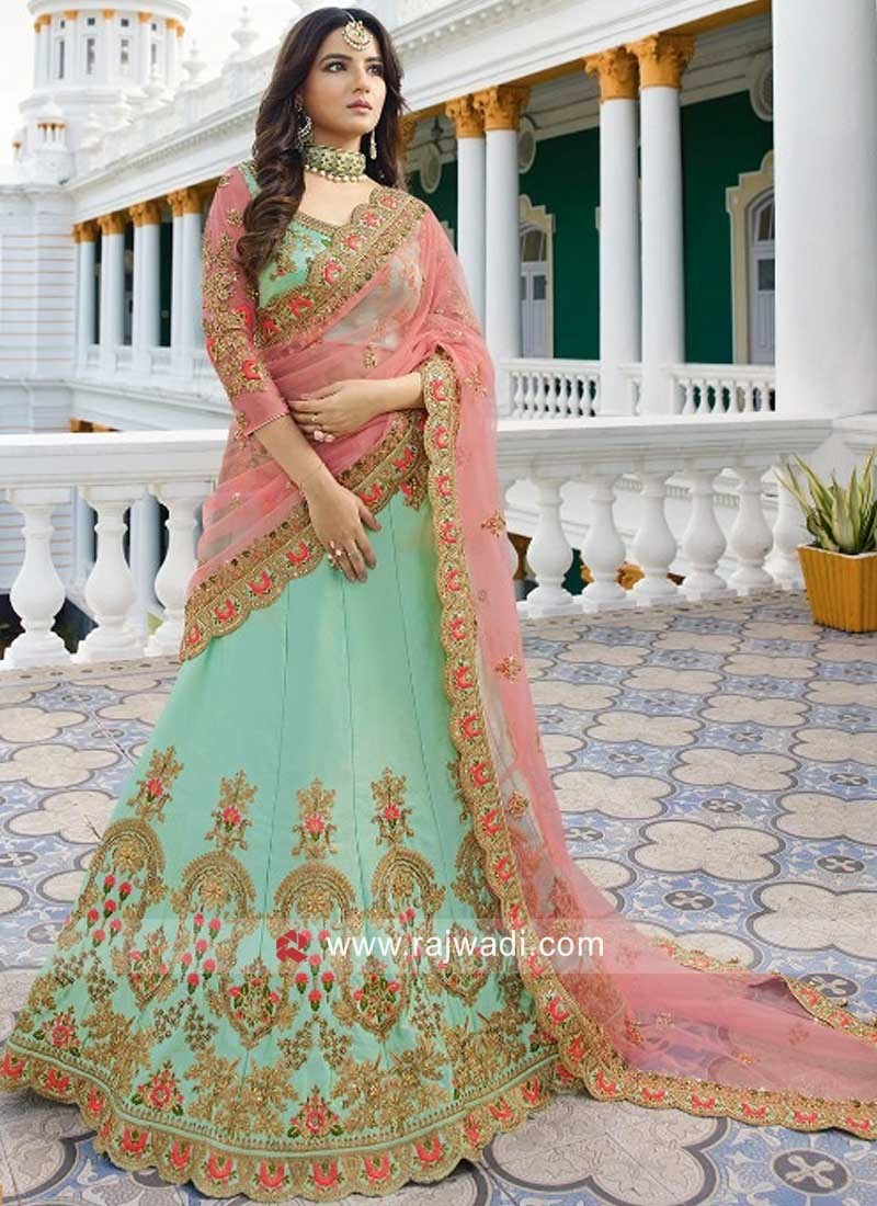 Silk Pista Green Wedding Lehenga Set
