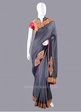 Silk Plain Border Work Saree