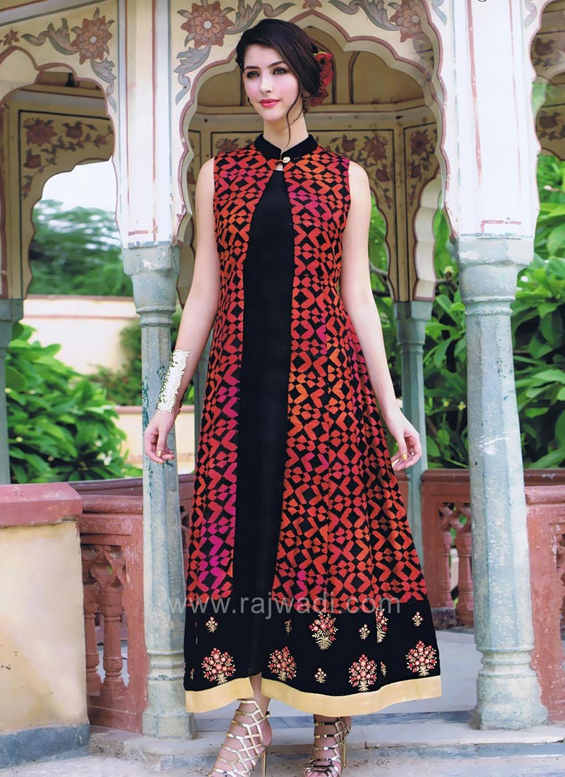 Silk Plain Kurti with Long Printed Jacket Style Koti